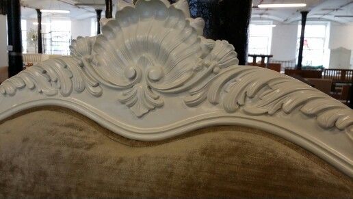 Close up on the hand carving beds manufactured by beds for Furniture emporium