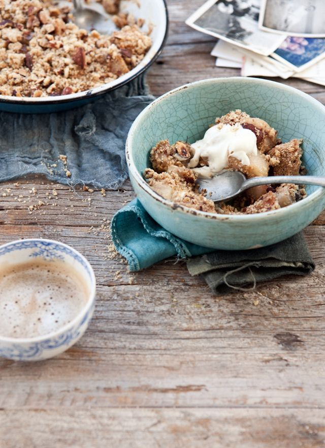 Nutty hazelnut and almond pear crumble with elderflower cream - What Katie Ate