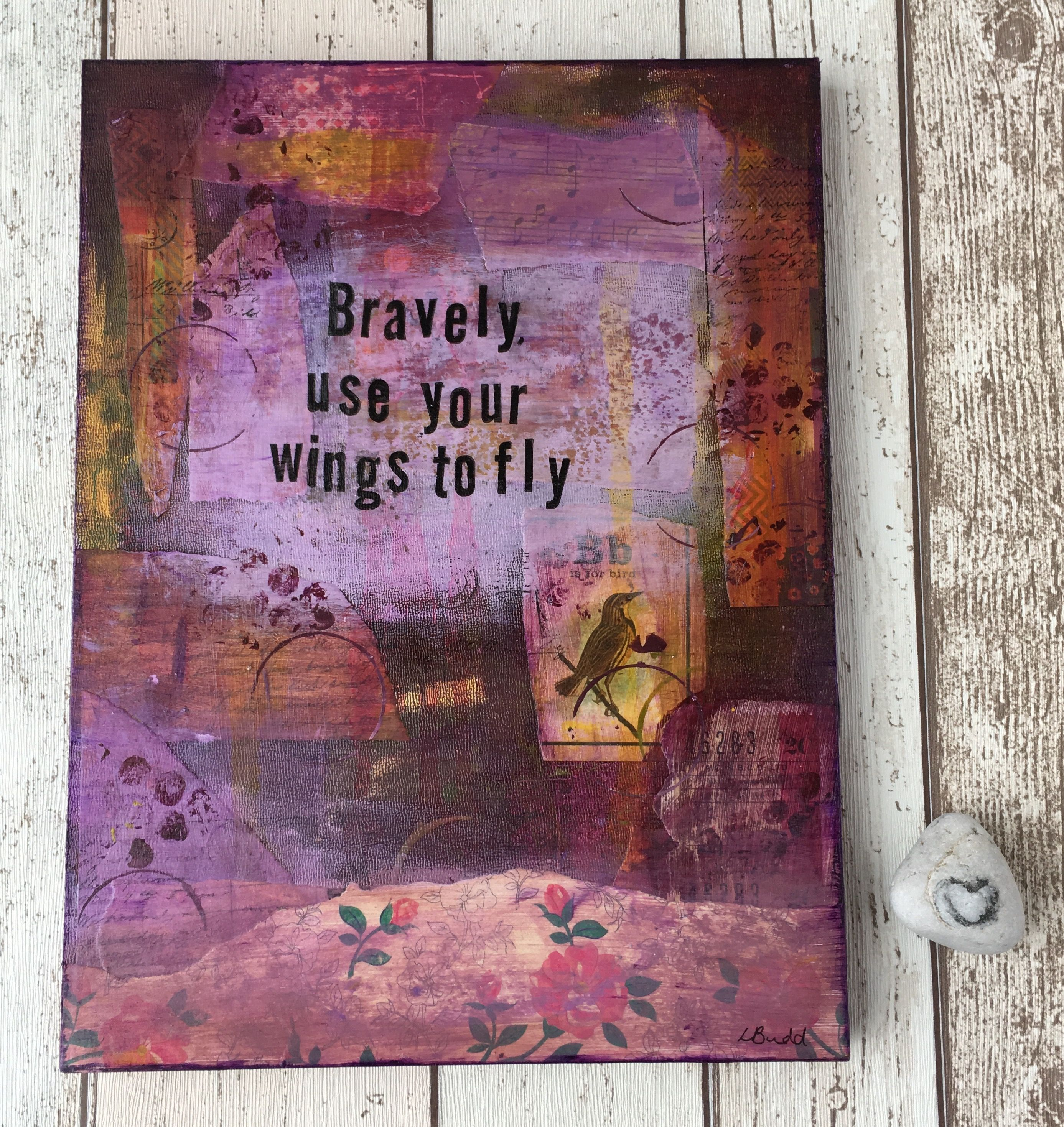 Bravely Use Your Wings To Fly Original Art Canvas