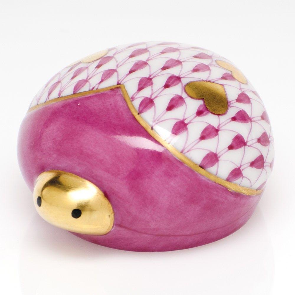 "Herend Kangaroo Hand Painted Porcelain Figurine In Pink: Herend Hand Painted Porcelain Figurine ""Love Bug"