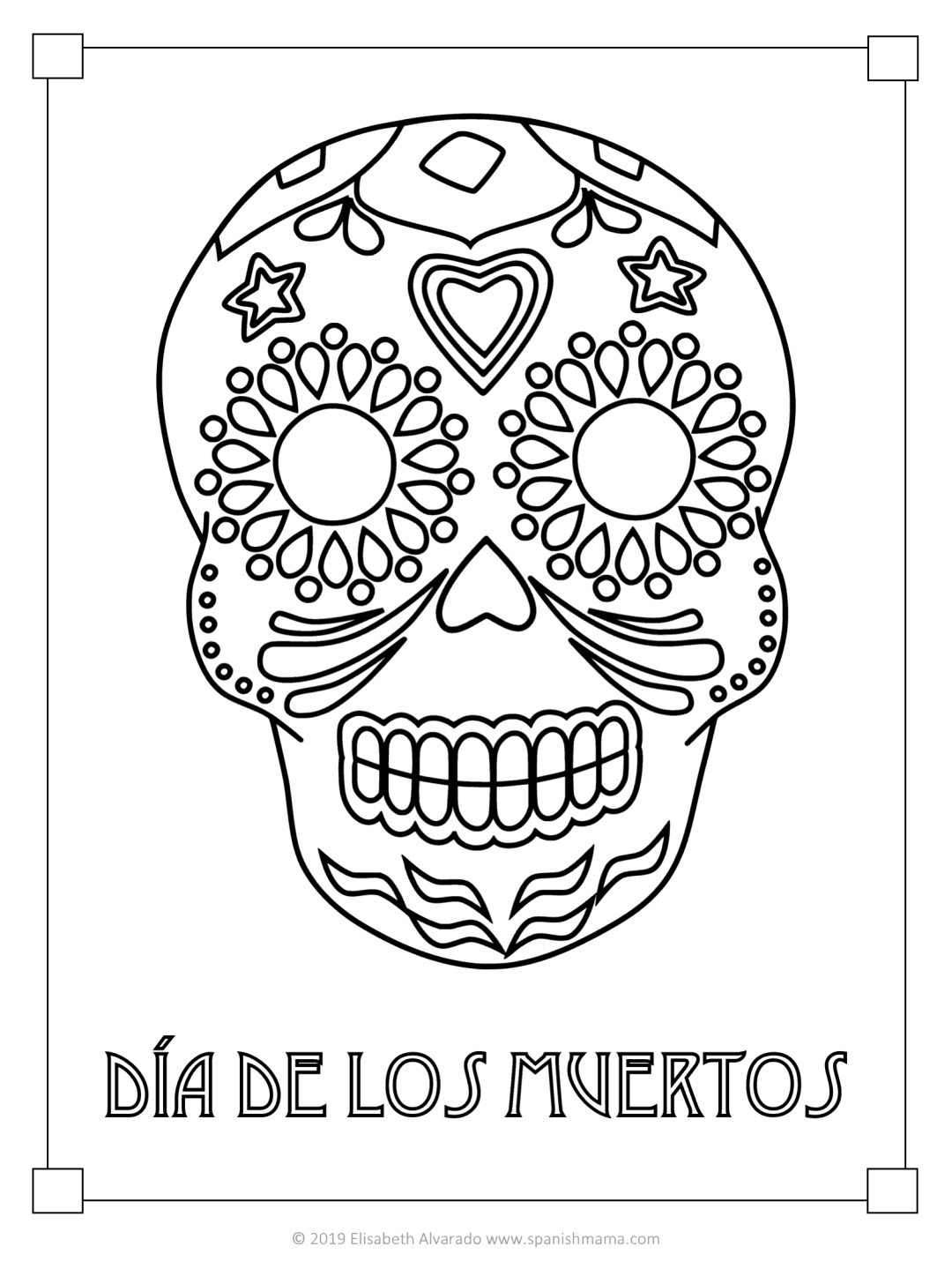 Sugar Skull Coloring Pages and Masks for Día de Muertos ...