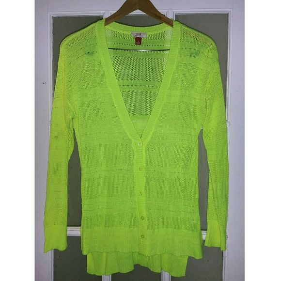 Neon Yellow Cardigan Sweater | Yellow cardigan sweater, Yellow ...