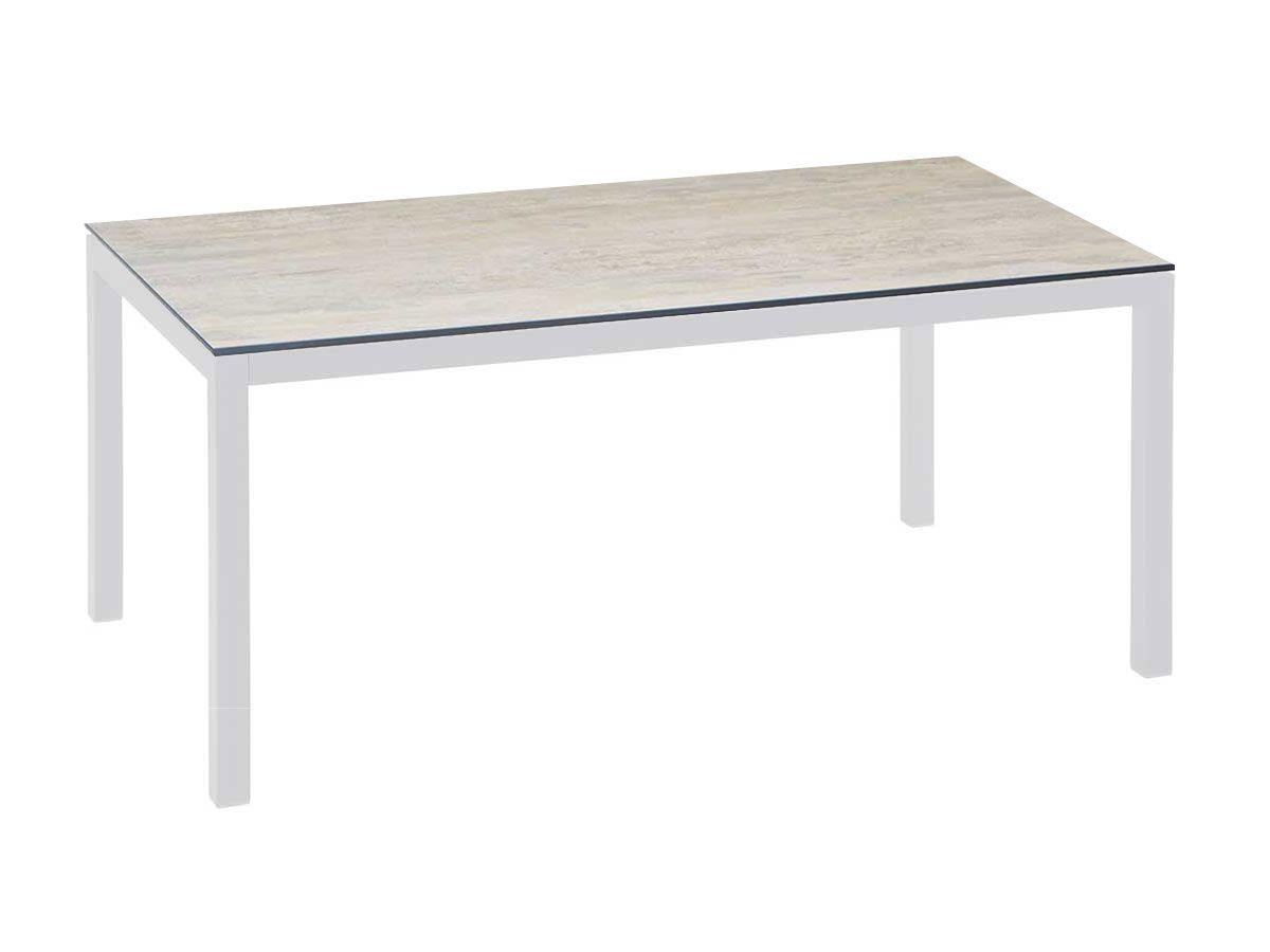 Stern Gartentisch Tischsystem Aluminium Weiss Silverstar Dekor Sand