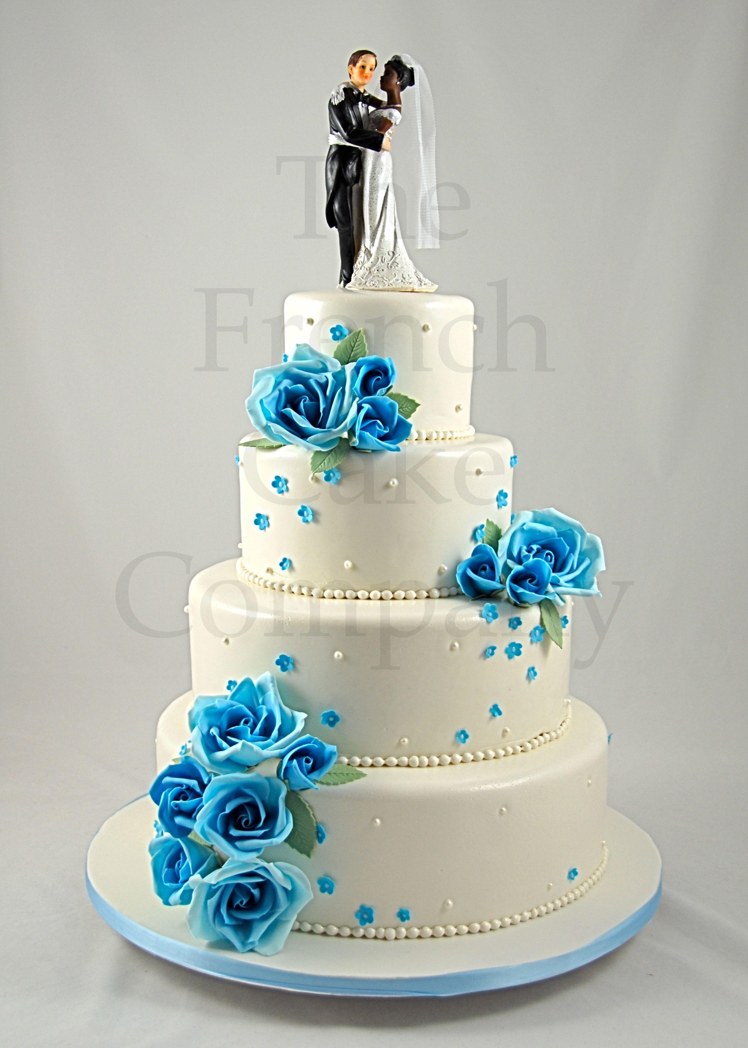 wedding cake blue flowers piece montee mariage fleurs. Black Bedroom Furniture Sets. Home Design Ideas