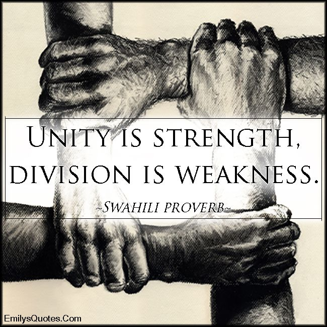 Unity Is Strength Division Is Weakness Popular Inspirational
