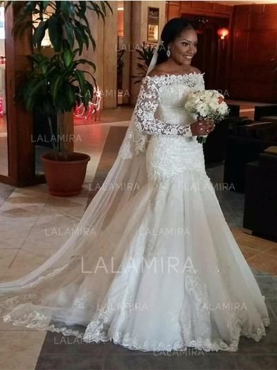 ae915386f621f Trumpet/Mermaid Off-The-Shoulder Court Train Tulle Lace Wedding Dress With  Beading Appliques Lace (002147792) - Wedding Dresses - lalamira