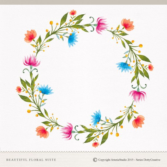 Photo of Floral suite, Floral frame, Floral clipart, Hand painted , watercolor design