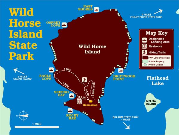 Wild Horse Island State Park Map Flathead Lake, Montana | Montana ...