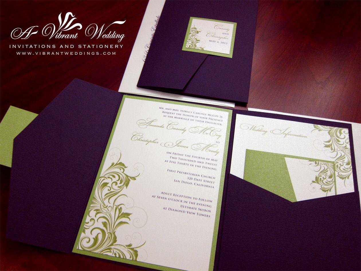 pine and eggplant wedding announcements   Eggplant Purple & Green ...