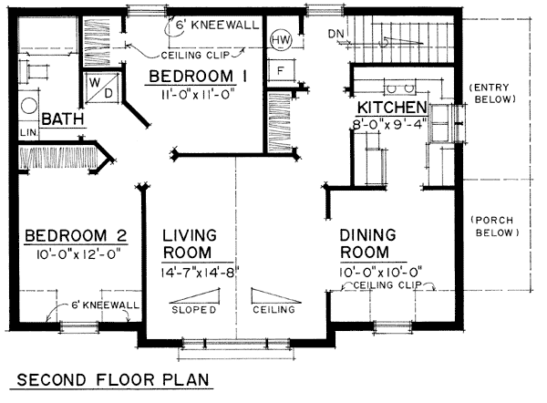 Traditional Style 3 Car Garage Apartment Plan Number with 2 Bed 1 Bath