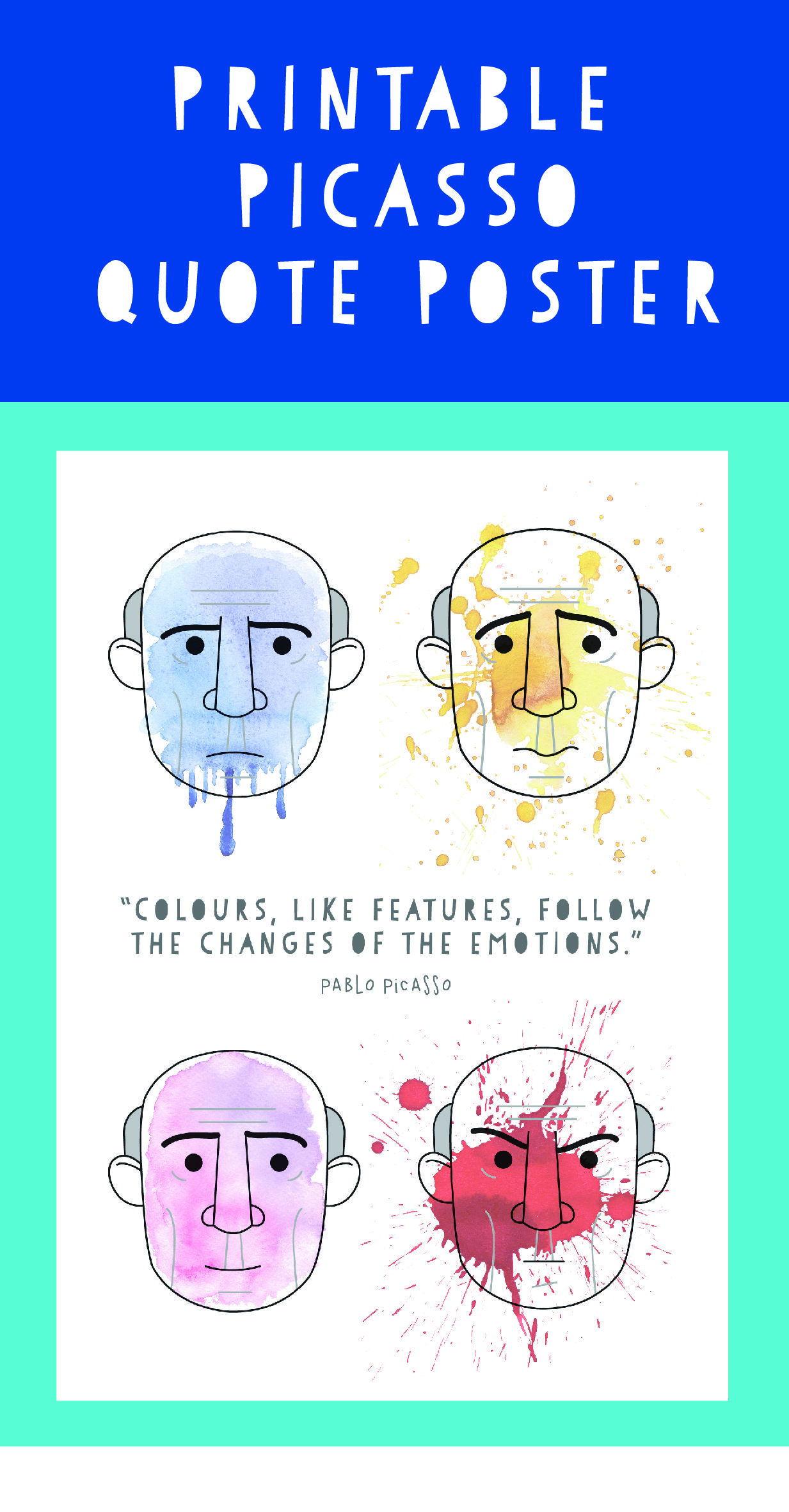 Printable Poster Illustrating The Pablo Picasso Quote