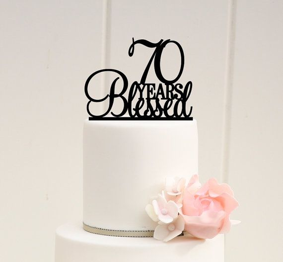 70th Birthday Anniversary Blessed Years Cake Decoration Topper