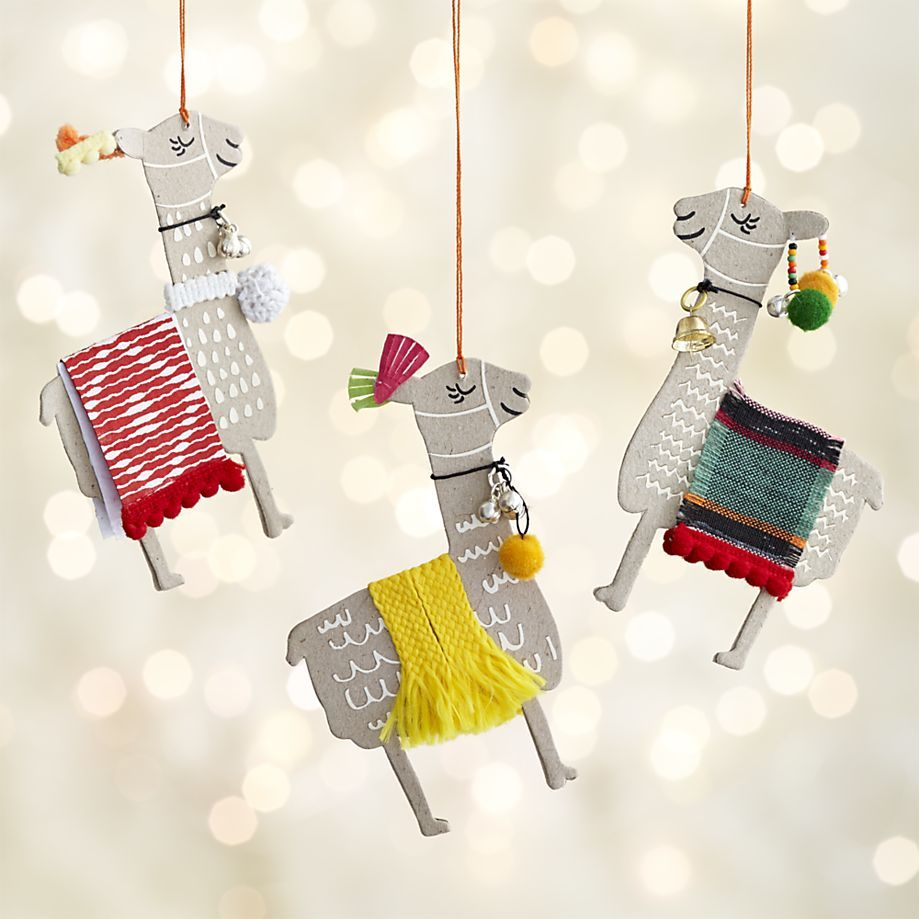 Llama Christmas Decorations.Paper Llama With Blanket Ornaments Crate And Barrel