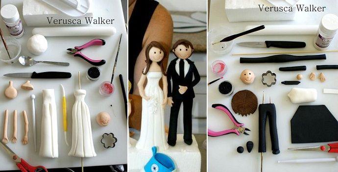 venire tariffa Una sposa e lo sposo torta nuziale topper esercitazione di Verusca Walker