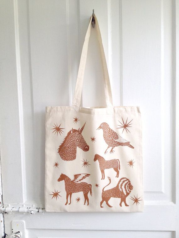 CONSTELLATION ZOO Screen Printed Canvas Tote Bag by triangletrees