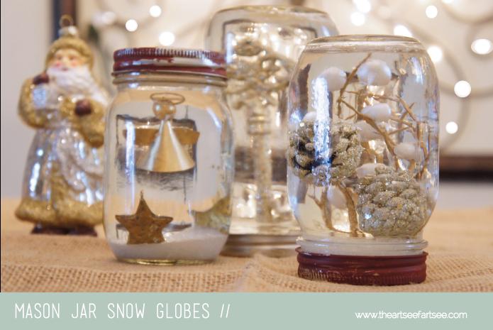 Mason jar snow globes holidays pinterest jar mason jar how to recycle making recycled mason jar snow globes solutioingenieria Images