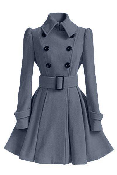 494dd7843e8 Chic Women s Belt Long Sleeve Winter Coat Dress