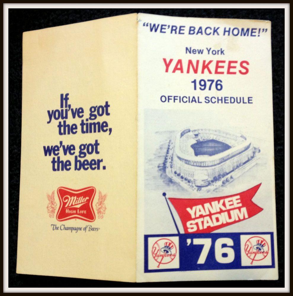 1976 New York Yankees Miller High Life Baseball Pocket Schedule Exex Condition New York Yankees Miller High Life Yankees