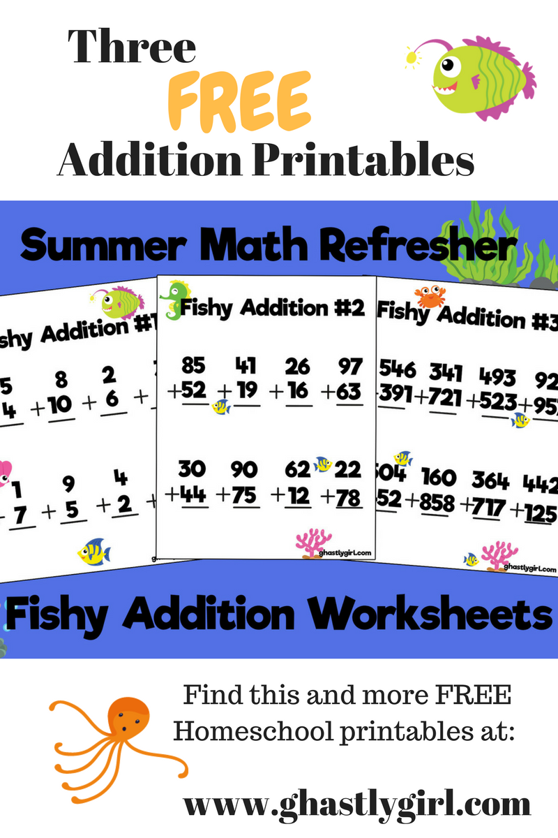 End of Summer Math Refresher : Fishy Addition Free Math Worksheets ...
