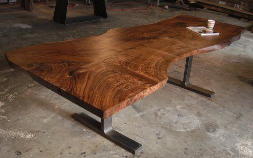 Claro Walnut Live Edge Dining Table With Steel T Legs Bjorling