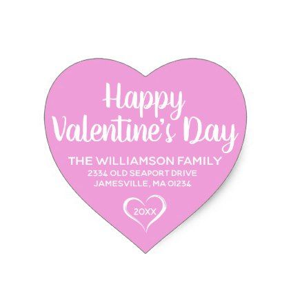 Pink And White HeartShaped Return Address Labels  Valentines Day