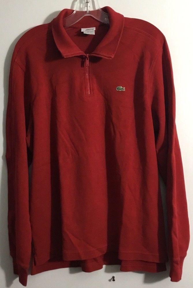 ada6b7767d640 NWOT Lacoste Mens 1 2 Zip Long Sleeve Pullover Sweater 100% Cotton Red Sz 5   Lacoste  12Zip