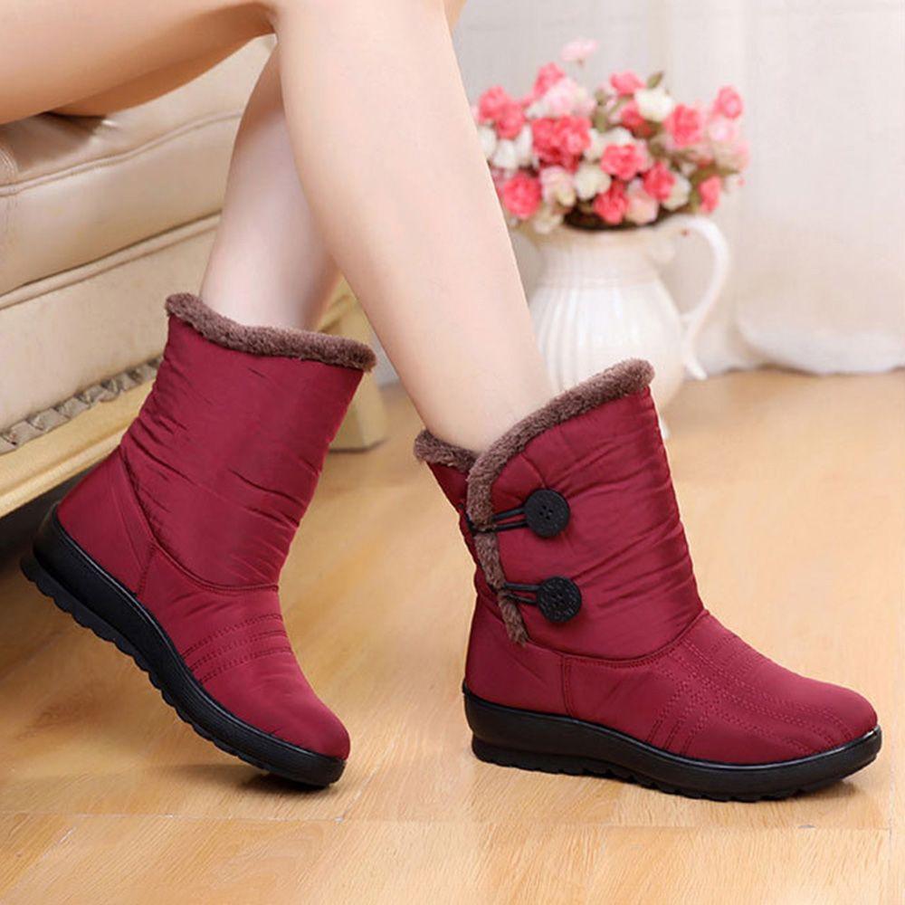 Botas Para La Nieve Con Hebilla De Felpa Suave Forrada De Tela Impermeable De Invierno Para Mujer Ne Botas Mujer Invierno Botas De Mujer Zapatos Impermeables