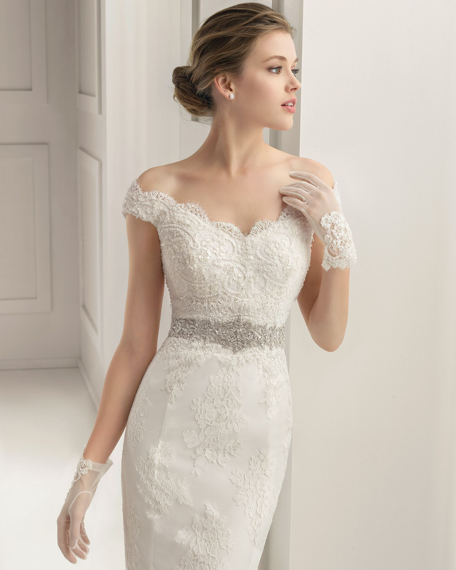 Santel corded lace dress with lace and beading in a natural colour