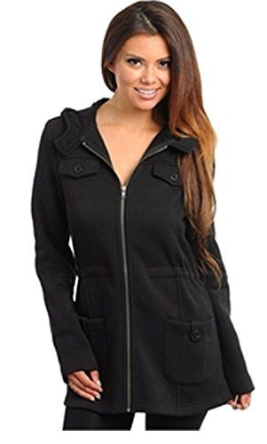d663feeb60 Front Zip Long Hooded Jacket with Gathered Waist and Front Button ...