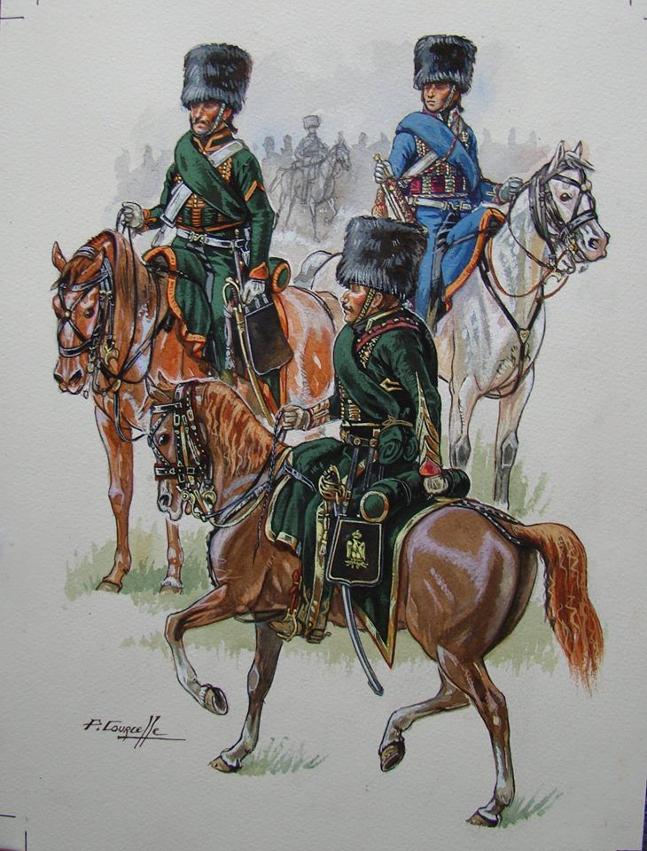 French; Imperial Guard, Chasseurs a Cheval, Trooper, Officer & Trumpeter, Cent Jours, 1815, by P.Courcelle