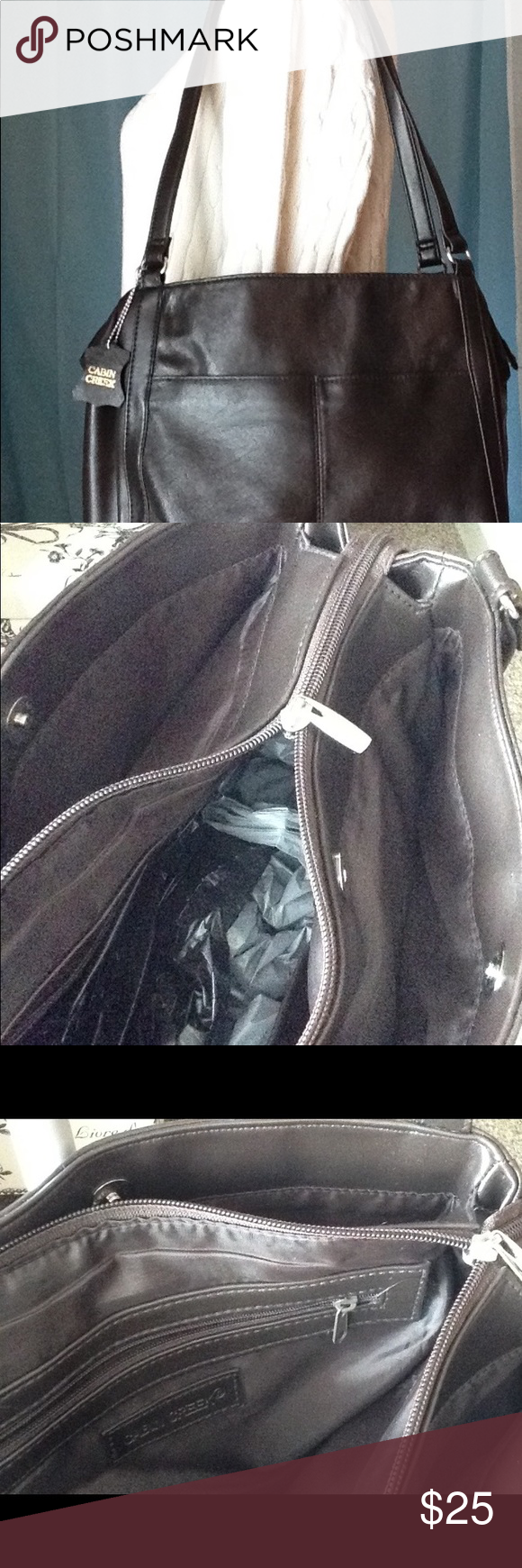 Cabin Creek Dark Brown Leather Purse. Main Zipper Compartment Two Side  Compartments W/magnetic
