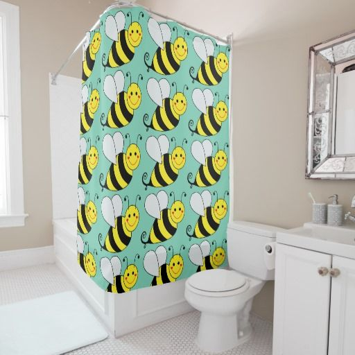 Cute Bumble Bees Pattern Green Shower Curtain