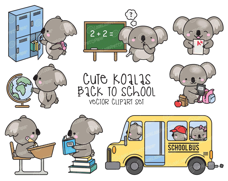 Premium Vector Clipart Kawaii Koalas Back To School Cute Etsy In 2021 Koalas Clip Art Kawaii Clipart