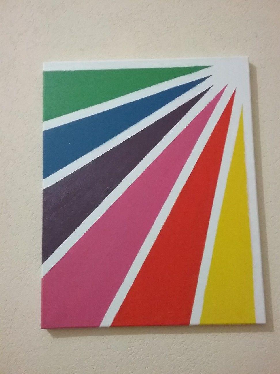 Beautiful Rainbow Rays Diy Canvas Art Easy Diy Canvas Wall Art Painters Tape Art