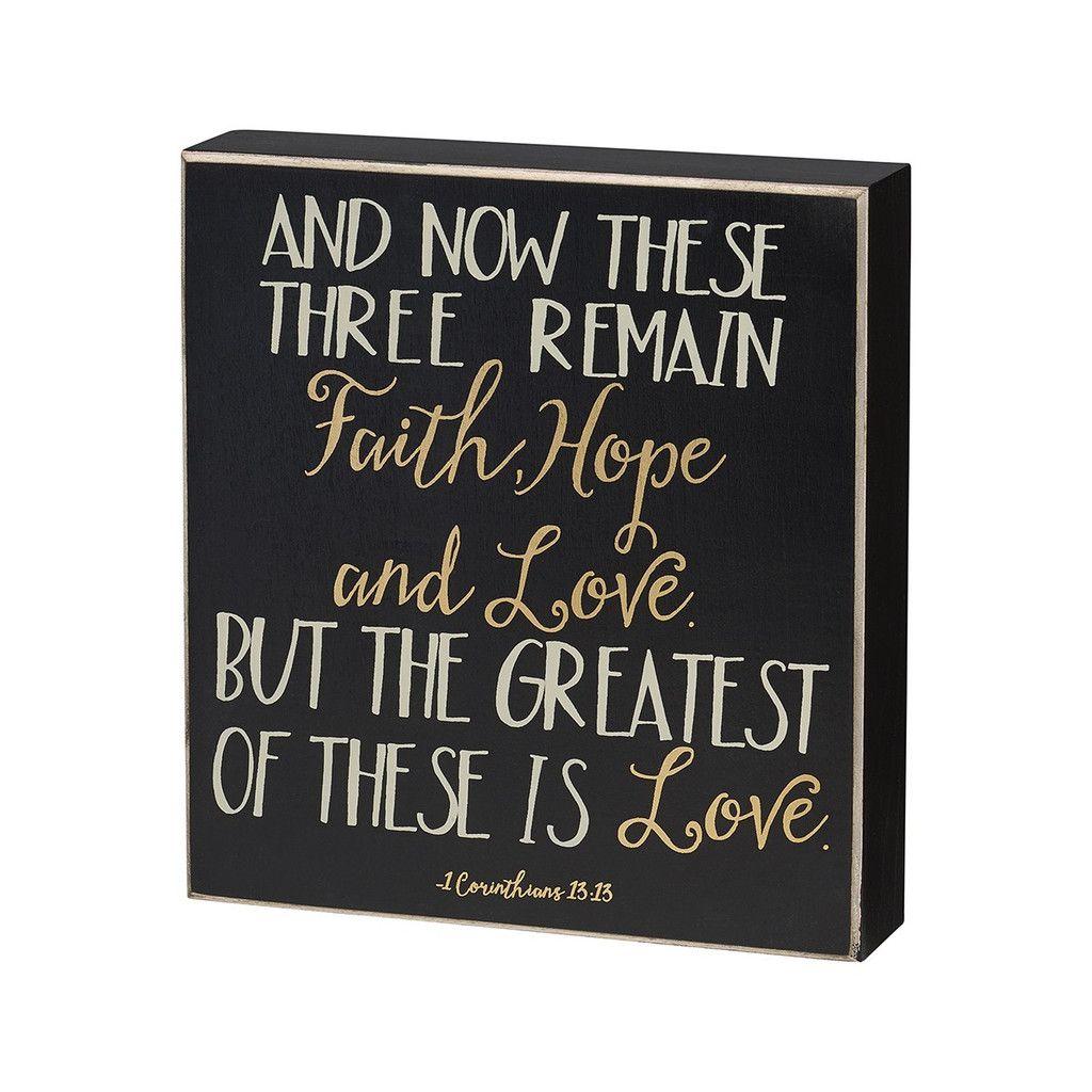 Faith, Hope & Love Box Sign