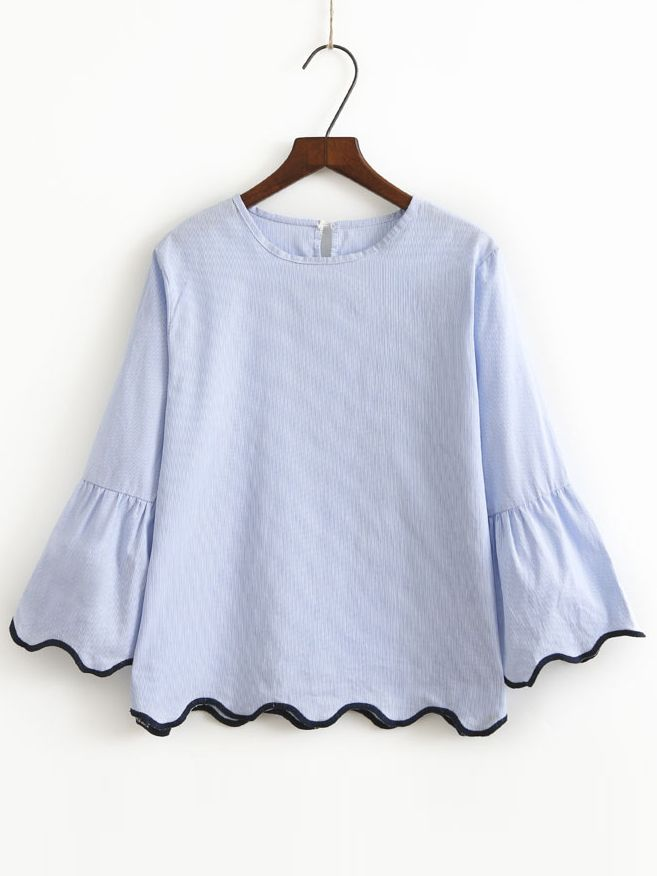 Shop Blue Contrast Binding Bell Cuff Wave Trim Blouse online. SheIn offers Blue Contrast Binding Bell Cuff Wave Trim Blouse & more to fit your fashionable needs.