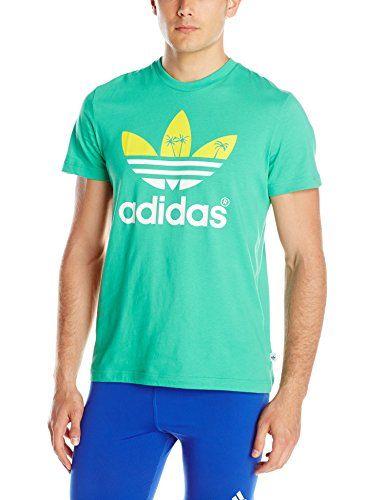 4cc015f2 adidas Originals Men's Palm Tree Trefoil Graphic Tee, Surf Green, Small adidas  Originals http
