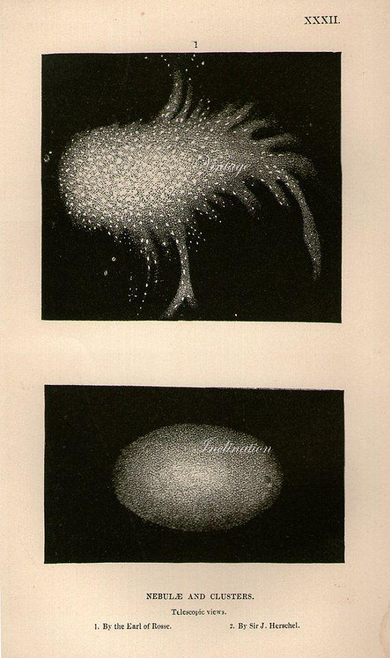 1894 NEBULA STAR CLUSTER lithograph original antique celestial astronomy print c