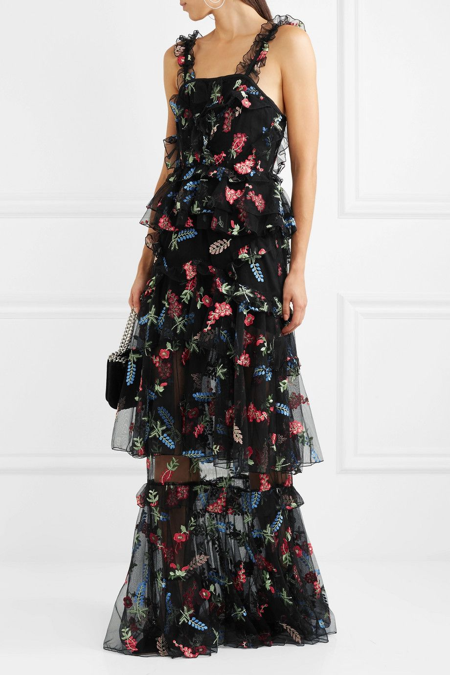 ee399aafced alice McCALL - She Moves Me tiered ruffled embroidered tulle maxi ...