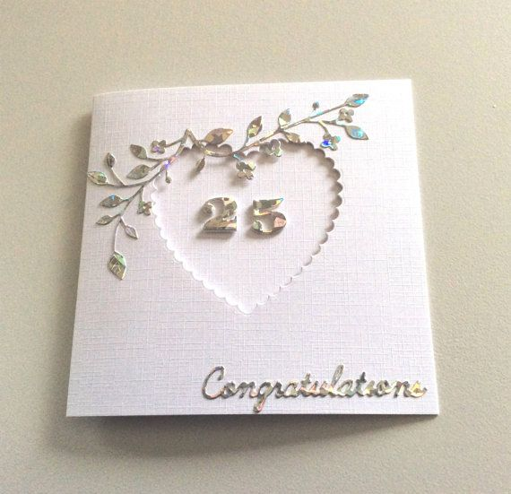 Card Making Ideas Silver Wedding Part - 43: Silver Wedding Anniversary Card 25th By BrindavanCrafts On Etsy