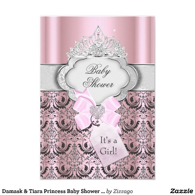Damask & Tiara Princess Baby Shower Invitation Personalized Announcement