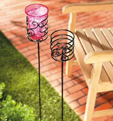 Scrolled Metal Yard Stake Drink Holders Could Also Prolly