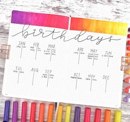 Photo of Brilliant Bullet Journal Birthdays