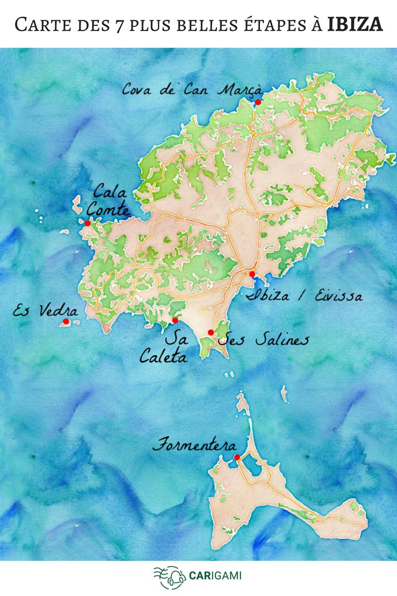 Carte Des Plages De Majorque : carte, plages, majorque, étapes, Ibiza, Carigami, Ibiza,, Visiter, Espagne