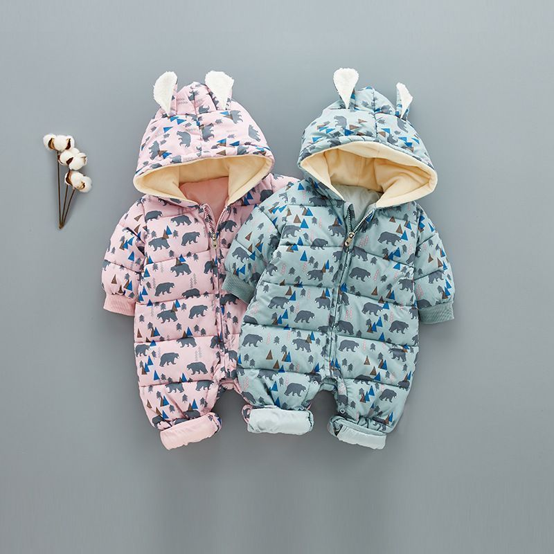 73778d939 Super Warm Children Winter Jumpsuit Rompers Bear Baby Girl Winter ...