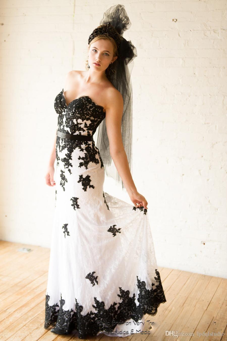 Stunning white and black wedding dress lace mermaid wedding dresses