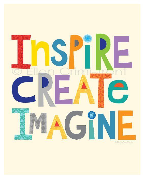 Inspire create Imagine/kids wall art/ kids wall decor/ | Etsy