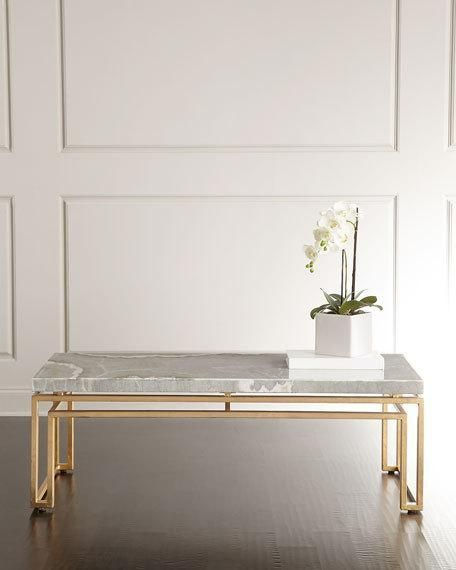 Gray Stone Slab Gold Base Coffee Table
