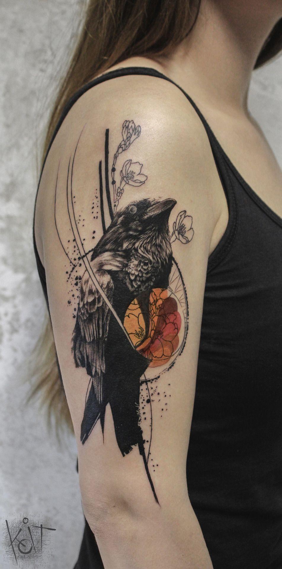 Koit Tattoo artist from Berlin. Black and orange graphic style ... - Tattoo Studio Bielefeld
