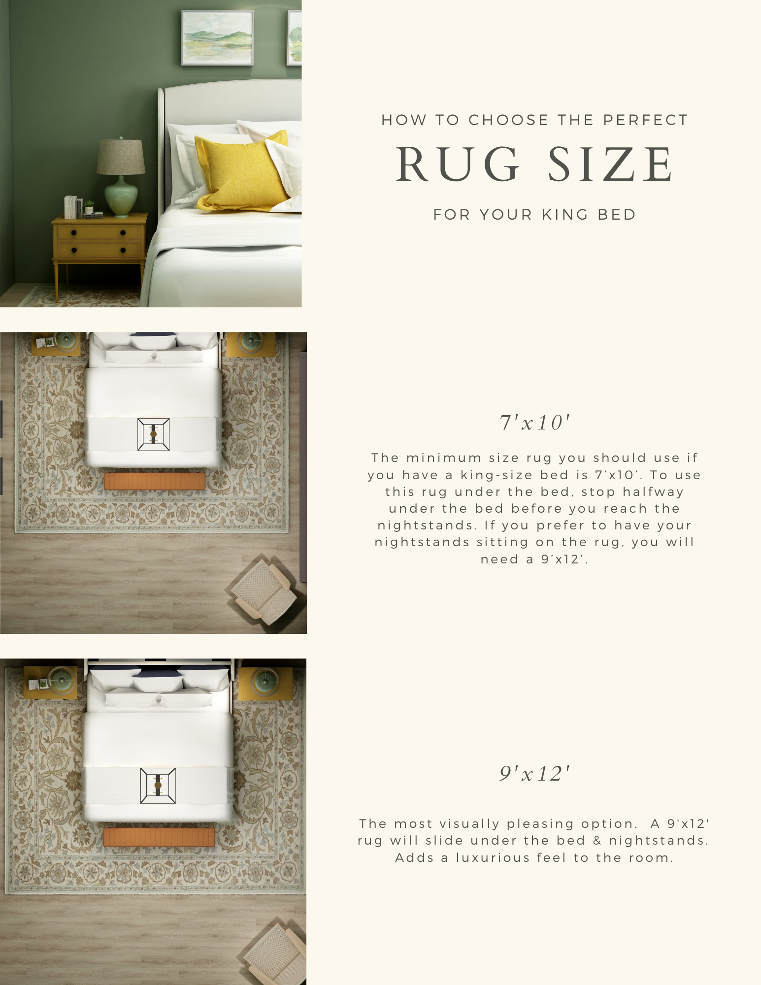 Selecting the perfect rug size for your king size bed can